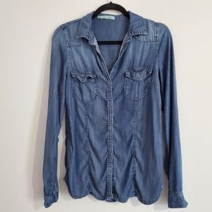 Maurices Women's Faux Jean Long Sleeve Top Size S